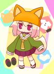 1girl animal_ears animal_hat bangs bell bell_collar black_footwear blonde_hair blush brown_collar brown_headwear closed_mouth collar doubutsu_no_mori eyebrows_visible_through_hair fake_animal_ears fox_ears fox_hat fox_tail full_body green_shirt hair_between_eyes hat highres jingle_bell kemomimi-chan_(naga_u) kneehighs long_hair long_sleeves looking_at_viewer naga_u orange_neckwear original pleated_skirt purple_skirt red_eyes sailor_collar shirt skirt sleeves_past_fingers sleeves_past_wrists solo sparkle standing tail white_legwear white_sailor_collar zouri