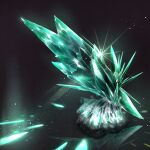 aqua_theme black_background cluseller commentary commentary_request crystal glint highres light_particles no_humans original partial_commentary phosphophyllite_(gemstone) reflection rock shiny simple_background still_life