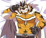 1boy animal_ears bara bed_sheet beige_fur bodysuit bulge cape chest covered_abs covered_navel facial_hair furry goatee grau39 hand_on_hip live_a_hero male_focus medium_hair muscle orange_bodysuit orange_eyes orange_fur ryekie_(live_a_hero) solo tiger_boy tiger_ears two-tone_fur upper_body white_cape