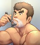 1boy absurdres alternate_facial_hair bara barry_go biceps body_hair brown_hair chest chest_hair highres kengo_(tokyo_houkago_summoners) male_focus muscle razor shaving shaving_cream shirtless short_hair sideburns solo thick_eyebrows tokyo_houkago_summoners upper_body