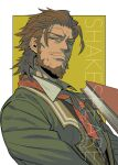 1boy beard book brown_eyes brown_hair character_name coat collared_shirt english_text facial_hair fate/apocrypha fate_(series) green_coat highres holding holding_book long_sleeves looking_at_viewer male_focus medium_hair muni_(fdrk) mustache red_neckwear renaissance_clothes shirt simple_background smile solo stubble upper_body william_shakespeare_(fate)