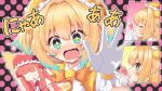 +_+ 2girls blonde_hair blue_hair blush bombergirl eyebrows_visible_through_hair fang gloves green_eyes hair_intakes looking_at_viewer matsubara_tsuyoshi momoko_(bombergirl) multicolored_hair multiple_girls open_mouth photo_(object) pine_(bombergirl) short_hair short_twintails translation_request twintails two-tone_hair white_gloves yuri