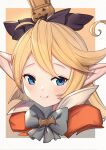 1girl bangs black_bow blonde_hair blue_eyes blush bow brown_background charlotta_fenia closed_mouth commentary_request crown fang fang_out granblue_fantasy grey_background grey_bow hair_bow harvin high_collar highres jack-o'-lantern long_hair mini_crown pointy_ears portrait smile solo two-tone_background uneg