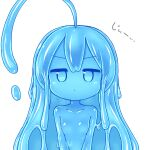 1girl ahoge blue_eyes blue_hair blue_sclera blue_skin breasts closed_mouth furrowed_eyebrows huge_ahoge kixyuresu long_hair looking_at_viewer monster_girl nude original pout simple_background slime_girl small_breasts solo upper_body white_background