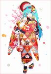 1girl :d aqua_hair bangs black_legwear blue_eyes blue_hair blush bonnet branch eyebrows_visible_through_hair floral_print flower frilled_kimono frilled_sleeves frills full_body gradient_hair hair_between_eyes hakusai_(tiahszld) hand_up hatsune_miku highres japanese_clothes kimono long_hair long_sleeves multicolored_hair open_mouth pink_flower platform_footwear print_kimono red_footwear red_headwear shirt sleeves_past_wrists smile socks solo tabi twintails vocaloid white_background white_shirt wide_sleeves