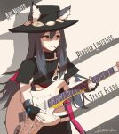 1girl album_cover animal_ears arknights black_hair cover cowboy_hat english_text fingerless_gloves food food_in_mouth gloves guitar hat highres instrument namesake parody pocky pun shinkuro_sanagi solo stevie_ray_vaughan strap_slip texas_(arknights) wolf_ears yellow_eyes