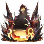 claws commentary_request gen_3_pokemon groudon head_back legendary_pokemon molten_rock naokado no_humans open_mouth pokemon pokemon_(creature) primal_groudon rock sharp_teeth solo standing teeth