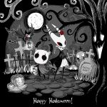 1boy 1girl 1other arizuka_(catacombe) bare_tree bat brooch cloak commentary copyright_name cravat english_text eyeliner flower full_body full_moon graveyard greyscale grimm_(hollow_knight) halloween hat highres holding holding_lantern hollow_eyes hollow_knight hornet_(hollow_knight) horns jack-o'-lantern jewelry knight_(hollow_knight) lantern looking_at_viewer makeup monochrome moon no_humans outdoors rose spot_color standing tombstone top_hat tree wings