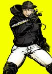 1boy aikawa_(dorohedoro) backwards_hat bara black_eyes black_gloves black_hair black_hoodie chest climaxmukr dorohedoro feet_out_of_frame fighting_stance gloves hat male_focus muscle pants short_hair sideburns smile solo spread_legs thick_thighs thighs tight tight_pants white_pants yellow_background