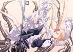 1girl abigail_williams_(fate/grand_order) arms_up beige_background black_skirt black_vest blonde_hair bloomers blue_eyes blush bow braid breasts cluseller commentary_request falling fate/grand_order fate_(series) forehead french_braid hair_bow half-closed_eyes happy heart key keyhole layered_skirt long_hair long_sleeves looking_up open_mouth orange_bow oversized_object shirt sidelocks skirt sleeves_past_fingers sleeves_past_wrists small_breasts smile solo spread_legs teeth tentacles tied_hair underwear vest white_bloomers white_bow white_shirt