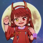 1girl :d bangs bead_bracelet beads bird_earrings blush bracelet character_request claw_pose earrings eyebrows_visible_through_hair fang final_fantasy final_fantasy_xiv flower flower_request full_moon hairband hand_up heterochromia horns japanese_clothes jewelry kimono long_hair moon night night_sky open_mouth pointy_ears purple_flower purple_rose red_eyes red_flower red_ribbon redhead ribbon rose sidelocks single_earring sky smile solo star_(sky) starry_sky swept_bangs tempered_axe thick_eyebrows white_hairband wide_sleeves wrist_flower wrist_ribbon yellow_eyes