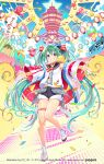1girl bangs bare_shoulders black_sailor_collar black_shorts blush bow eyebrows_visible_through_hair green_eyes green_hair grin hair_between_eyes hair_bow haori hat hatsune_miku highres japanese_clothes lantern long_hair long_sleeves looking_at_viewer mini_hat murakami_yuichi octopus outstretched_arms paper_lantern red_bow sailor_collar school_uniform serafuku shirt shoes short_shorts shorts sleeveless sleeveless_shirt smile socks solo standing standing_on_one_leg star_(symbol) striped striped_bow thighs tilted_headwear twintails very_long_hair vocaloid watermark web_address white_footwear white_legwear white_shirt wide_sleeves
