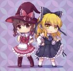 2girls apron ascot bangs black_bow black_footwear black_ribbon black_shirt black_skirt blonde_hair boots bow braid breasts brown_eyes brown_footwear brown_hair buttons collared_shirt cosplay costume_switch detached_sleeves eyebrows_visible_through_hair frilled_bow frilled_hair_tubes frills full_body gloves hair_bow hair_tubes hakurei_reimu hakurei_reimu_(cosplay) hand_on_hip hand_on_own_face hat hat_bow highres japanese_clothes kirisame_marisa kirisame_marisa_(cosplay) long_hair looking_at_viewer medium_hair miko multiple_girls open_mouth puffy_short_sleeves puffy_sleeves purple_neckwear red_bow red_headwear red_shirt red_vest ribbon ribbon-trimmed_clothes ribbon-trimmed_skirt ribbon-trimmed_sleeves ribbon_trim sandals shippou_(pattern) shippou_background shirt short_sleeves skirt smile socks touhou twin_braids unime_seaflower vest waist_apron white_gloves white_legwear white_ribbon white_shirt white_sleeves wide_sleeves witch_hat yellow_eyes