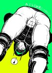 ! 1boy aikawa_(dorohedoro) ass backwards_hat bara black_hair black_hoodie bulge character_name chest climaxmukr dorohedoro feet_out_of_frame hat leaning_forward looking_at_viewer male_focus multiple_monochrome muscle short_hair sketch solo spoken_exclamation_mark string thick_thighs thighs
