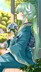 1girl bangs blurry blurry_background blush closed_mouth commentary_request day depth_of_field dragon_horns fan fate/grand_order fate_(series) floral_print folding_fan from_side green_hair hair_ornament hand_on_own_thigh highres holding horns japanese_clothes kimono kiyohime_(fate/grand_order) long_hair long_sleeves looking_up morizono_shiki obi outdoors paper_fan ponytail profile sash sidelocks sitting smile solo wide_sleeves yellow_eyes