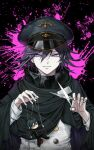 1boy bangs black_cape black_hair black_headwear cape character_doll checkered closed_mouth danganronpa doll double-breasted hair_between_eyes hat highres holding holding_doll holding_scissors jacket long_sleeves looking_at_viewer male_focus moona_59 new_danganronpa_v3 ouma_kokichi peaked_cap pink_eyes puppet_strings purple_hair saihara_shuuichi scarf scissors short_hair smile solo straitjacket upper_body violet_eyes white_jacket