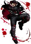 1boy aikawa_(dorohedoro) black_hair black_hoodie black_pants blood blood_splatter bloody_weapon climaxmukr dorohedoro dual_wielding facial_mark fighting_stance full_body holding holding_weapon hood hoodie knife male_focus muscle open_clothes open_hoodie pants short_hair sideburns solo spiked_boots thick_thighs thighs tight tight_pants weapon