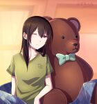 1girl aihara_mei arm_rest black_hair blackwingbinlan blanket bow bowtie casual citrus_(saburouta) commentary_request commission dated green_shirt long_hair mixed-language_commentary one_eye_closed shadow shirt sitting solo stuffed_animal stuffed_toy teddy_bear violet_eyes