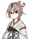 1girl alternate_hair_length alternate_hairstyle commentary_request grey_hair hachimaki headband hinata_hibari japanese_clothes kantai_collection looking_at_viewer muneate short_hair simple_background solo upper_body white_background wide_sleeves zuihou_(kantai_collection)