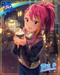 blush character_name idolmaster_million_live!_theater_days jacket long_hair maihama_ayumu pink_eyes pink_hair ponytail smile