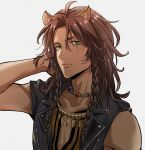 animal_ears arm_behind_head black_vest brown_hair collarbone dao_(daao_bf) dark_skin expressionless fang_necklace film_grain green_eyes hair_over_shoulder highres leona_kingscholar lion_boy lion_ears long_hair necktie official_style scar scar_across_eye shirt simple_background sleeveless sleeveless_shirt toboso_yana_(style) twisted_wonderland vest white_background