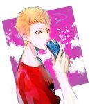 1boy blonde_hair can energy_drink holding holding_can male_focus painting_(object) persona persona_5 red_eyes red_shirt sakamoto_ryuuji shirt short_sleeves simple_background solo squiggle sweat two-tone_background upper_body yuu_(isis7796)
