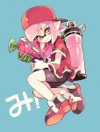 1girl amezawa_koma backwards_hat bangs baseball_cap bike_shorts black_shorts blue_background blunt_bangs closed_mouth commentary domino_mask floating grey_eyes hat highres holding holding_weapon ink_tank_(splatoon) inkling inkling_(language) looking_at_viewer mask pink_hair pointy_ears red_footwear red_headwear red_shirt shirt shoes short_hair short_sleeves shorts simple_background smile solo splatoon_(series) splatoon_2 splattershot_(splatoon) symbol_commentary tentacle_hair translated weapon