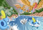 alternate_color blue_eyes closed_eyes commentary_request fearow fleeing gen_1_pokemon gen_8_pokemon grass motion_lines open_mouth pokemon pokemon_(creature) river rock scared shiny_pokemon sobble sweat swimming takigawageenito tongue water watery_eyes wavy_mouth