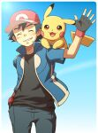 1boy ash_ketchum bangs baseball_cap black_gloves black_hair black_shirt blue_jacket closed_eyes commentary_request cowboy_shot cyaneko fingerless_gloves gen_1_pokemon gloves hand_in_pocket hand_up hat jacket on_shoulder pants pikachu pokemon pokemon_(anime) pokemon_(creature) pokemon_on_shoulder pokemon_xy_(anime) red_headwear shirt short_sleeves smile teeth
