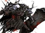 1other armor black_theme blurry blurry_background cape death_knight_(overlord) depth_of_field glowing glowing_eyes helmet holding holding_shield holding_sword holding_weapon horned_helmet horror_(theme) open_mouth overlord_(maruyama) pauldrons red_eyes shield shoulder_armor skeleton so-bin solo sword torn_cape torn_clothes undead weapon