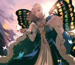 1boy backlighting bangs blonde_hair blue_cape blue_coat blue_eyes bug butterfly butterfly_on_finger butterfly_wings cape clouds coat commentary_request crown eyebrows_visible_through_hair fate/grand_order fate_(series) fur-trimmed_cape fur_trim gold_trim highres insect insect_on_finger long_sleeves looking_at_viewer male_focus oberon_(fate) outdoors pink_sky robe shinoda_mugi short_hair smile solo tassel twilight white_robe wings