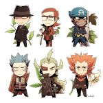 6+boys archie_(pokemon) arms_at_sides arms_behind_back artist_name blue_bandana boots chibi closed_mouth coat commentary cyrus_(pokemon) dark_skin dark_skinned_male eyepiece facial_hair ghetsis_harmonia giovanni_(pokemon) glasses green_hair hand_in_pocket hand_up hat holding holding_poke_ball jewelry long_hair looking_at_viewer lysandre_(pokemon) maxie_(pokemon) multiple_boys necklace orange_hair poke_ball pokemon pokemon_(game) pokemon_bw2 pokemon_dppt pokemon_hgss pokemon_oras pokemon_xy smile spiky_hair ssalbulre teeth watermark
