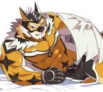1boy animal_ears bara bed_sheet beige_fur bodysuit bulge cape chest come_hither covered_abs covered_navel facial_hair furry goatee grau39 live_a_hero male_focus medium_hair muscle one_eye_closed orange_bodysuit orange_eyes orange_fur ryekie_(live_a_hero) solo thick_thighs thighs tiger_boy tiger_ears two-tone_fur white_cape