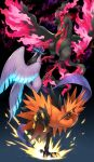 blue_eyes closed_mouth commentary_request fire galarian_articuno galarian_form galarian_moltres galarian_zapdos gen_8_pokemon glowing glowing_eyes highres kemonomichi_(blue_black) leg_up legendary_pokemon looking_to_the_side no_humans open_mouth pink_fire pokemon pokemon_(creature) talons tongue wings