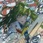 1girl blood blood_stain bloody_clothes crying crying_with_eyes_open frog_hair_ornament green_hair hair_ornament japanese_clothes kaoru_(alicemakoto) kochiya_sanae miko mind_break open_mouth orange_eyes tears torii touhou water_drop