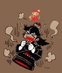 >_< 1boy 1girl 8-bit arm_up black_dress black_hair brown_background clenched_hands closed_eyes commentary_request crying dress earrings falling flying_sweatdrops gloves hair_between_eyes hair_tie hat jewelry long_dress long_hair m-karigari mario mario_(series) millipen_(medium) monochrome open_mouth pixel_art princess_bullet_bill puffy_short_sleeves puffy_sleeves red_headwear red_overalls sharp_teeth short_sleeves simple_background skull_earrings skull_print smoke spot_color super_crown teeth tied_hair traditional_media white_gloves