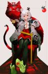 1girl animal_ears black_legwear coat copyright_request green_footwear grey_coat grey_hair hair_ornament hairclip hakama_pants highres long_sleeves looking_at_viewer mouse_ears open_clothes open_coat red_eyes red_shorts shoes shorts sitting smile so-bin solo thigh-highs torii