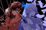 2boys akechi_gorou amamiya_ren bangs bird bug butterfly card chain cuffs dagger epaulettes gloves gun hair_between_eyes handcuffs holding holding_dagger holding_gun holding_mask holding_weapon insect jacket long_sleeves male_focus mask multiple_boys persona persona_5 simple_background smile tarot upper_body weapon yuu_(isis7796)
