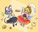 2girls :d ^_^ animal_ear_fluff animal_ears animal_print apple beer_mug black_hair black_skirt blonde_hair blue_capelet cake cake_slice capelet checkered checkered_background chibi closed_eyes commentary cup fangs food fork fruit grey_hair hair_ornament hamburger holding holding_fork holding_knife knife kumamoto_(bbtonhk2) lowres macaron mouse_ears mouse_girl mouse_tail mug multicolored_hair multiple_girls nazrin open_mouth pixel_art red_eyes shawl short_hair simple_background skirt smile streaked_hair tail tiger_print toramaru_shou touhou two-tone_hair yellow_background