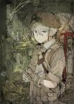 1boy absurdres backpack bag blue_eyes brown_headwear closed_mouth gloves grey_hair hair_between_eyes helmet highres hiranko holding huge_filesize indoors jar jiruo_(made_in_abyss) made_in_abyss male_focus short_sleeves solo whistle whistle_around_neck writing