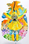 1other androgynous blonde_hair blue_eyes boots colorful cyclops flower hood hood_up looking_at_viewer one-eyed original pale_skin rainbow raincoat rubber_boots shima_(wansyon144) solo upside-down_rainbow wet yellow_footwear