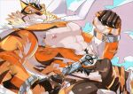 1boy abs animal_ears bara bare_chest beige_fur belt bodysuit bulge cape chest cowboy_shot cuffs dyzd1 facial_hair furry goatee grin handcuffs highres live_a_hero male_focus medium_hair muscle navel nipples orange_bodysuit orange_eyes orange_fur ryekie_(live_a_hero) smile solo thick_thighs thighs tiger_boy tiger_ears torn_bodysuit torn_clothes two-tone_fur white_cape