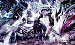 1boy aggron armaldo black_pants claydol commentary_request gen_2_pokemon gen_3_pokemon jacket long_sleeves looking_at_viewer metagross pants pokemon pokemon_(creature) pokemon_(game) pokemon_rse purple_neckwear shirt shoes silver_hair skarmory standing steven_stone uppii white_shirt