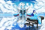 1girl absurdres chair choujikuu_yousai_macross clouds codealdnoah commentary dress elbow_gloves energy_cannon english_commentary gloves highres huge_filesize instrument lake long_dress looking_at_viewer lynn_minmay macross mecha ocean piano reflection robotech science_fiction sitting songstress space_craft storm_attacker water