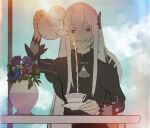 1girl bangs black_capelet black_dress butterfly_hair_ornament capelet chair clouds cup dress echidna_(re:zero) flower grin hair_ornament highres long_hair long_sleeves pouring re:zero_kara_hajimeru_isekai_seikatsu sidelocks sitting sky smile solo table teacup teapot vase violet_eyes white_eyelashes white_hair wuokb