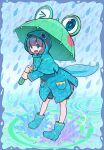 1girl aqua_footwear bangs black_hair boots eyebrows_visible_through_hair full_body highres holding holding_umbrella hood hood_up long_sleeves nobile1031 open_mouth original pocket rain raincoat solo splashing standing tadpole_tail umbrella