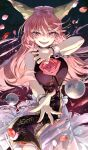 1girl ball_and_chain_restraint bangs bare_shoulders blush breasts chain claw_pose commentary_request cuffs dress evil_smile eyebrows_visible_through_hair fangs fingernails floating_hair flower hair_between_eyes hand_up highres horns ibaraki_douji_(touhou) large_breasts light_particles long_fingernails long_hair looking_at_viewer oni_horns open_mouth outstretched_arm outstretched_hand petals pink_flower pink_hair pink_rose reaching_out ribbon-trimmed_dress rose rose_petals shackles sharp_fingernails sidelocks sleeveless sleeveless_dress slit_pupils smile solo sparkle spoilers syuri22 tabard teeth touhou very_long_hair white_dress wild_and_horned_hermit