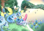 alternate_color aqua_eyes blue_eyes butterfree climbing commentary_request day dirty gen_1_pokemon gen_7_pokemon gen_8_pokemon grass leaf lily_pad open_mouth outdoors pokemon pokemon_(creature) ribombee shiny_pokemon sobble sun takigawageenito tongue tree water