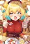 +_+ 1girl :3 alternate_costume bangs belt blonde_hair blue_eyes blue_hair blurry blurry_background blush bombergirl breasts cake cup dessert eyebrows_visible_through_hair fangs fisheye food fruit grenade_hair_ornament hair_ornament highres holding holding_spoon ice ice_cube large_breasts long_sleeves msp_sammy multicolored_hair open_mouth pine_(bombergirl) plate red_sweater ribbed_sweater short_hair sitting skin_fangs solo speech_bubble spoon suspenders sweater symbol-shaped_pupils table translation_request turtleneck turtleneck_sweater two-tone_hair yellow_pupils