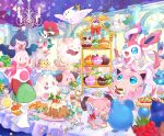 blue_eyes candy chandelier chandelure cleffa commentary_request cottonee cup cupcake dedenne eating fangs food gen_1_pokemon gen_2_pokemon gen_3_pokemon gen_4_pokemon gen_5_pokemon gen_6_pokemon highres holding holding_spoon indoors jigglypuff marill mime_jr. mr._mime open_mouth paws pikachu pokemon pokemon_(creature) pouring ralts riding_pokemon shiori_(xxxsi) sitting smile snubbull sparkle spoon star_(symbol) swirlix sylveon teacup teapot togekiss tongue tongue_out vanillite